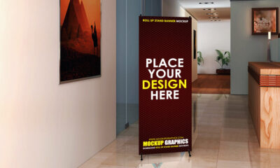 stand roll up banner mockup - www.mockuphill.com